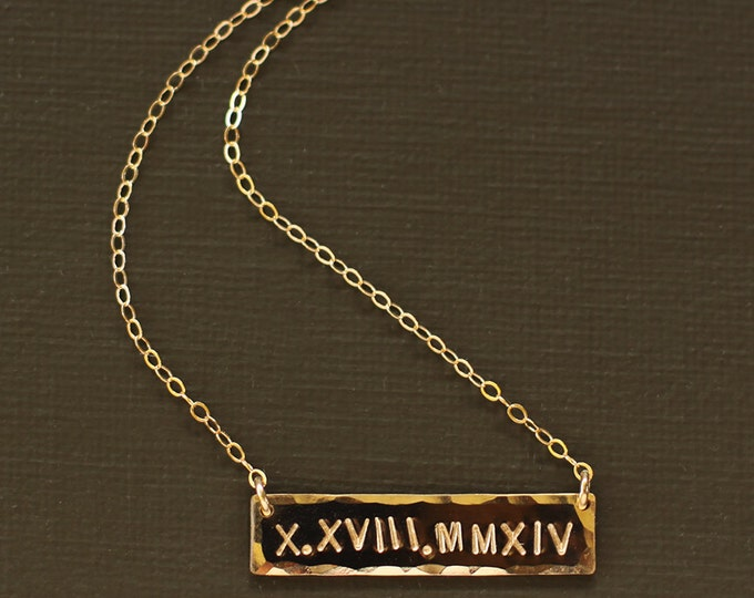 Roman Numeral Necklace - Wedding Date Necklace Name Necklace - 14K Gold Fill - ROSE Gold Fill