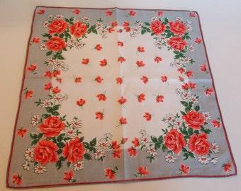 Vintage Rose Print Handkerchief / Hankie/ Hanky