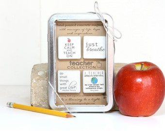 Teacher Gift. Rustic Refrigerator Magnets.1.25 x 1.25 Perfect for Christmas. Gift Tin with Ribbon. Hand painted Magnets