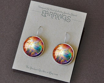 ORION NEBULA EARRINGS Astronomy Jewelry Orion Earrings Dangler Space Earrings Astronomer Gift ofr Astronomer Rainbow Colors 16mm Pierced