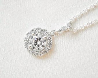 Round CZ Pendant, Bridal Necklace, Sterling Silver Chain, Bridal Necklace, Wedding Necklace