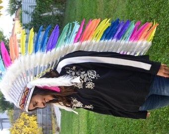 PRICE REDUCED E8-Extra Long Iris / Rainbow / colorful Chief Feather Headdress