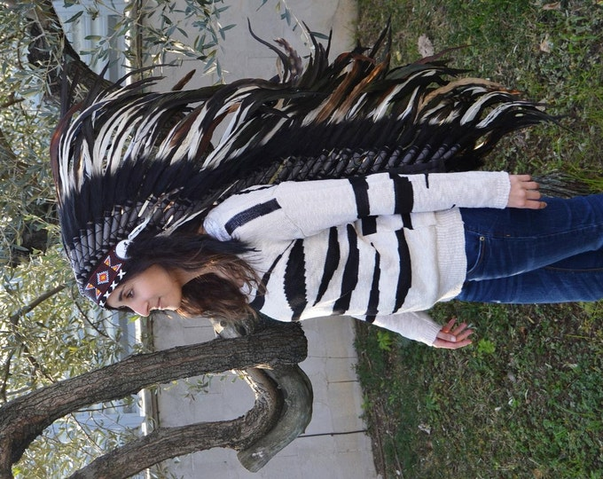PRICE REDUCED E12- Extra Large White  Feather Headdress (43  inch long )/ war bonnet