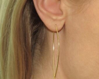 Gold dangle earrings, 14k gold drop earrings, bar threader Earrings, delicate gold dangle earrings, swing earring, curved wire earring
