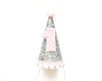 Mini Silver & Pink Glitter Birthday Party Hat - First Birthday Hat, Birthday Photo Prop, Cake Smash Hat, Cone Hat, Glitter Hat