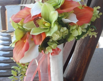 Beach Wedding Coral Real Touch Calla Lily Cascading Beach Bouquet / Silk Bridal Bouquet / Silk Wedding Flowers / Calla Lily Tropical Flowers