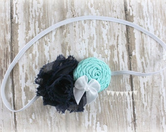 Navy and Aqua Blue Shabby Flower and Rolled Rose Headband, Skinny Newborn Headband, Baby Headband, Girls Headband, Shabby chic headband