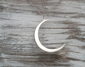 Moon Necklace Silver Crescent Moon Necklace Moon Pendant Sterling Silver Statement Necklace Moon Jewelry holidays gift Birthday gift