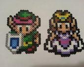 Link or Zelda Bead Sprite   Legend of Zelda   Link to the Past   SNES retro 8 bit