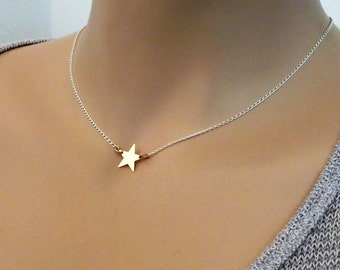 Solid 14k Gold Star Necklace. Sterling Silver Diamond Cut Curb Chain, Mixed Metal Layer Necklace, Custom Initial 14k Gold Star Necklace