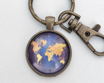 World Map Atlas Key Chain Bag Charm KC109