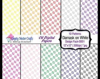 Damask Digital Paper pack, set0001, rainbow colors