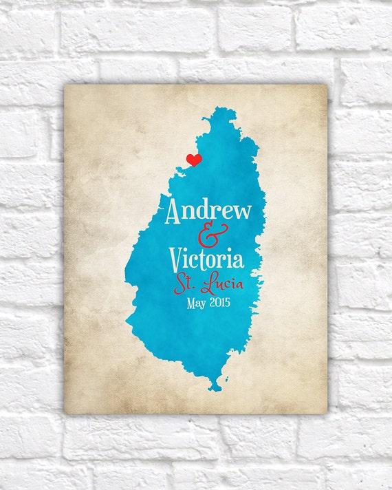 St. Lucia Map Destination Wedding Honeymoon Gift