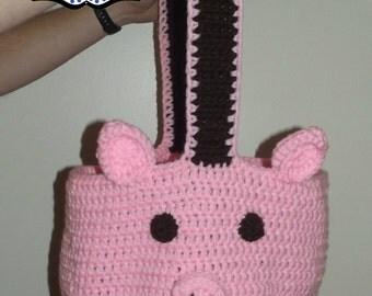 Pig Bag, Crochet Tote Bag, Handmade Bag, Diaper Bag, Crochet Purse, Animal Tote, Piggy Purse, Pig Diaper Bag, Pig Tote Bag, Large Tote Bag