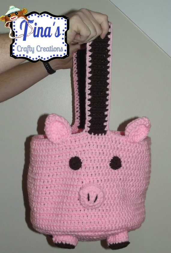 Crochet Baby Diaper Bag Patterns : Pig Bag Crochet Tote Bag Handmade Bag Diaper Bag Crochet