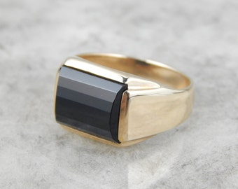 Mid Century Geometric Mens Ring with Faceted Dome Onyx Center, Mens or Ladies 8E8AV7-D
