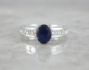 Deep Blue Sapphire, Platinum Vintage Engagement Ring 0UXW9R-P