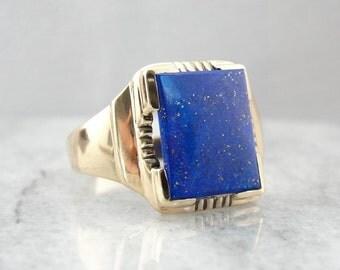 Vintage Lapis Lazuli Men's Ring In Yellow Gold QK3ACE-D