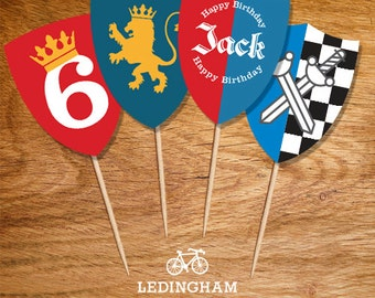 Knight/Castle/King  Cupcake Toppers (Personalised Printables)