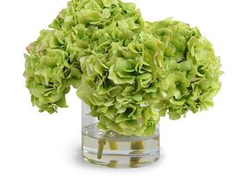 Silk Green Hydrangeas Arrangement Centerpiece - Large Glass Vase Faux Home Decor Artificial Wedding Decor