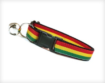 "Cat Collar - ""Marley"" - Rastafarian Red, Yellow & Green Stripe"