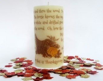 Over The River Thanksgiving Table Decor; Thanksgiving Candle; Fall Decor; Hostess Gift; Thanksgiving Mantel Decor; Table Centerpiece