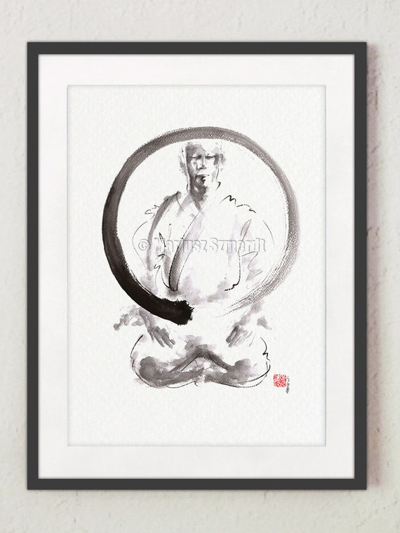 Original Enso Zen Painting Throw Pillows: Enso Circle Original Painting For Sale Zen Circle Meaning