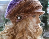Crocheted  beanie Slouchy Hat  PEAKED CAP Winter Fashion blue very warm