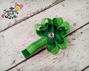 3 Leaf Shamrock Clover St. Patrick's Day ribbon sculpture hair clip. St Patrick's Day Hair Bow.