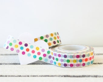 Polka Dot Washi Tape, Paper Tape, Planner Tape, Gift Wrap, Craft Tape, Embellishment, Japanese Tape, Planner Decoration