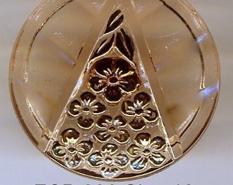 Czech glass button peach with gold flowers in triangle pattern - size 12, 27mm FCB 896
