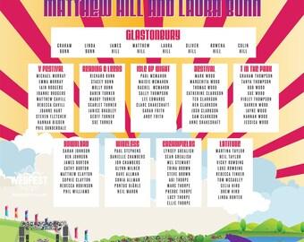WEDFEST Festival Themed Wedding Table Plans