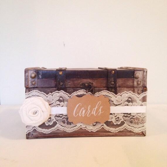 Rustic Wedding Card Holder, Lace, Burlap, Ivory, Vintage Wedding, Chic Wedding Decor // CH05