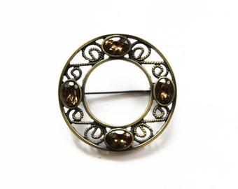 Vintage Rhinestone Celtic Brooch - Gold Circle Brooch with Topaz Rhinestones - Rhinestone Circle Brooch