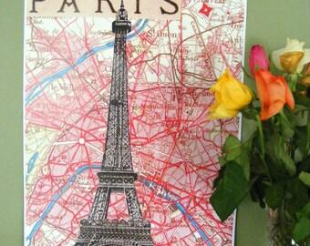 París Mapa de París Print - Torre Eiffel París impresión - impresión de Francia - París Francia mapa antiguo grabado - arte - Francia