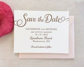 The Tulip Suite - Letterpress Save the Date Wedding Announcement, Gold with Blush Shimmer, Pink, Classic, Timeless, Traditional, Modern