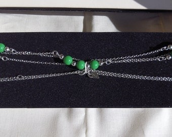 Sarah Coventry Spring Melody Necklace New in Box 8253  Vintage, Silver, Green