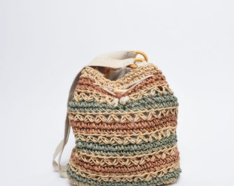 Vintage 90's Wicker Striped Bag