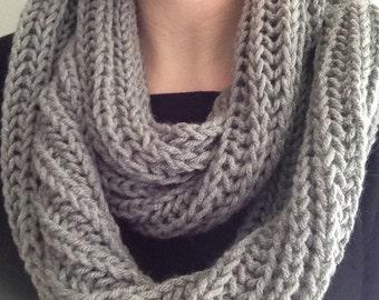 Gray Infinity Scarf - Gray Brioche Knit Scarf - Gray Cowl - Grey Infinity Scarf - Grey Brioche Knit Scarf - Grey Scarf & Mittens Gift Set