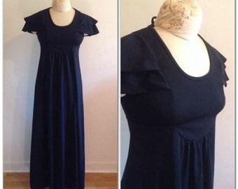 1970s Black Flutter Sleeve Maxi Dress Vintage // extra small sx 0 1 2 black maternity empire waist seventies