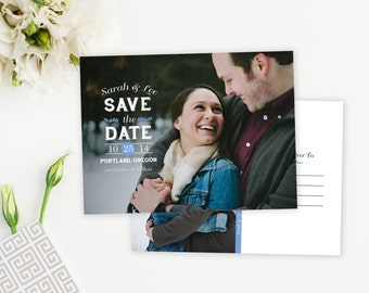 Fun Photo Save-The-Date Wedding Invitation Postcard - Customizable Typography
