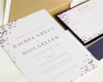 Modern and Fun Confetti Wedding Invitations, Confetti Invitation, Polka Dot Invite, RACHEL.