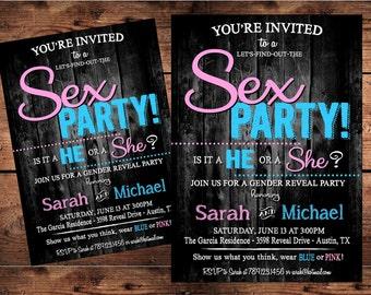 Sex Party Gender Reveal Invitation -  Digital File