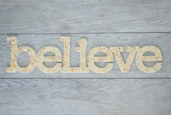 Believe Word Art Sea Shell Home Decor Inspirational Wall Art Believe Wall Hanging