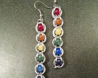 Chainmaille and Glass Bead GLBTQ Pride Chakra Earrings