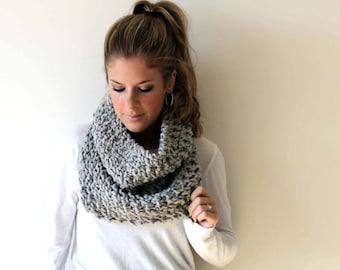 Knit Cowl Scarf Chunky Grey Marble- Calvert Cowl