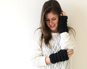 Knit Fingerless Gloves Charcoal- Solomon Gloves