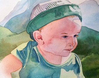 Custom Watercolor Portrait of Child with Background