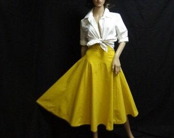 Golden, Mustard color, 1950's, full skirt, Bobbi Brooks, heavy cotton
