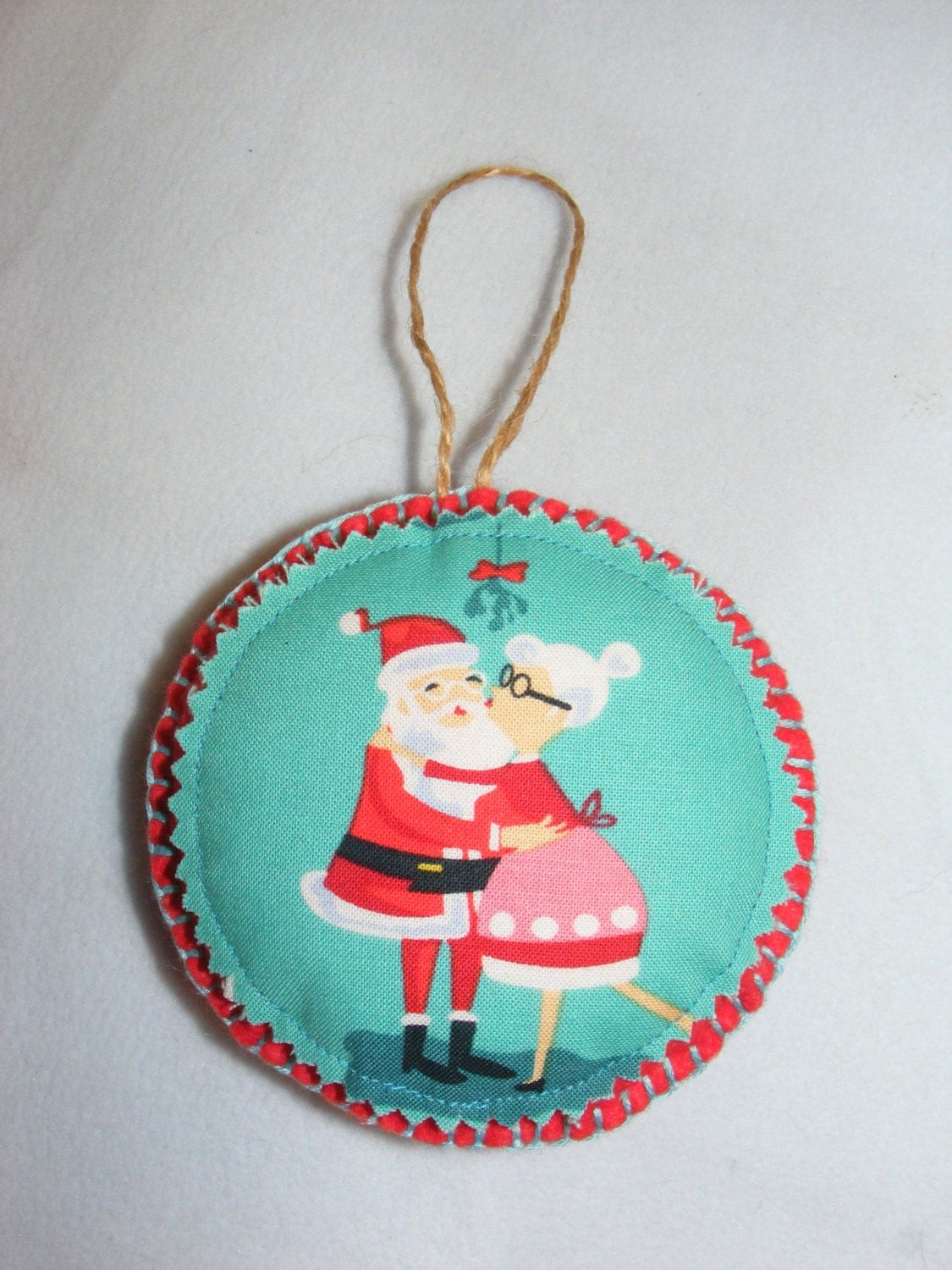 Cheeky Santa Hanging Felt & Fabric Christmas Decoration Handmade